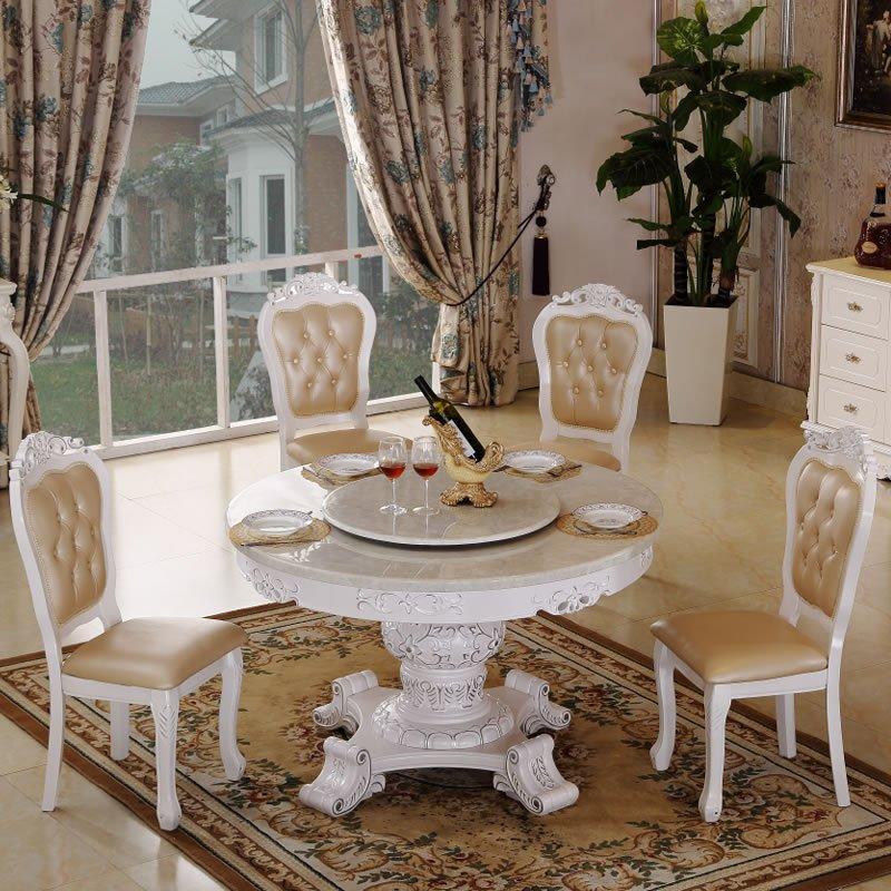 欧式大理石圆餐台 法式实木餐桌椅 美式客厅餐桌餐椅组合 圆形带转盘