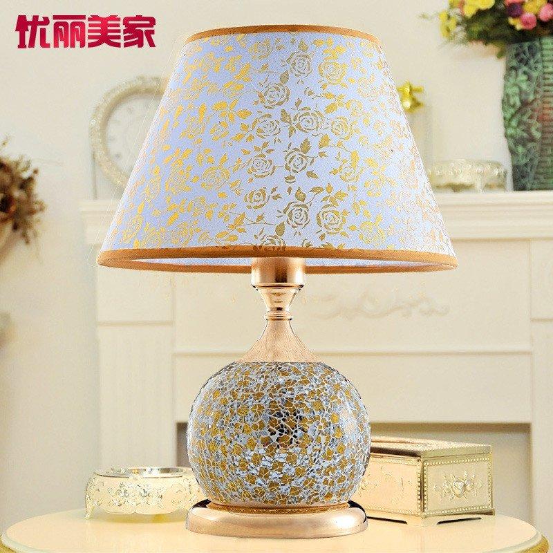 台灯卧室床头 马赛克玻璃台灯卧室装饰婚庆台灯创意灯罩床头灯欧式