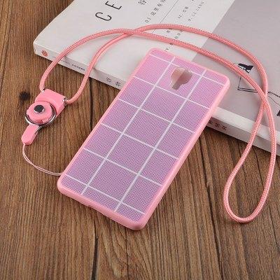 plus全包边挂绳 魅族pro6plus挂绳手机壳 保护套 粉色网格