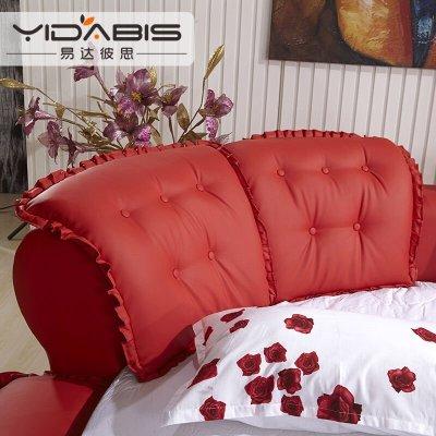 公主软皮床双人圆床个性创意异形欧式粉色婚床时尚内径2米圆床 红色