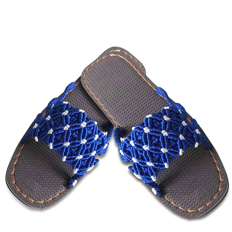 傲蒙 手工编织拖鞋 中国结5号线 结实耐穿颜色亮丽 孺子牛鞋底 深蓝色