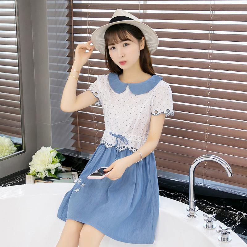 娇诗朵娃娃领少女连衣裙2016新款韩版学生小清新裙子夏装修身短袖
