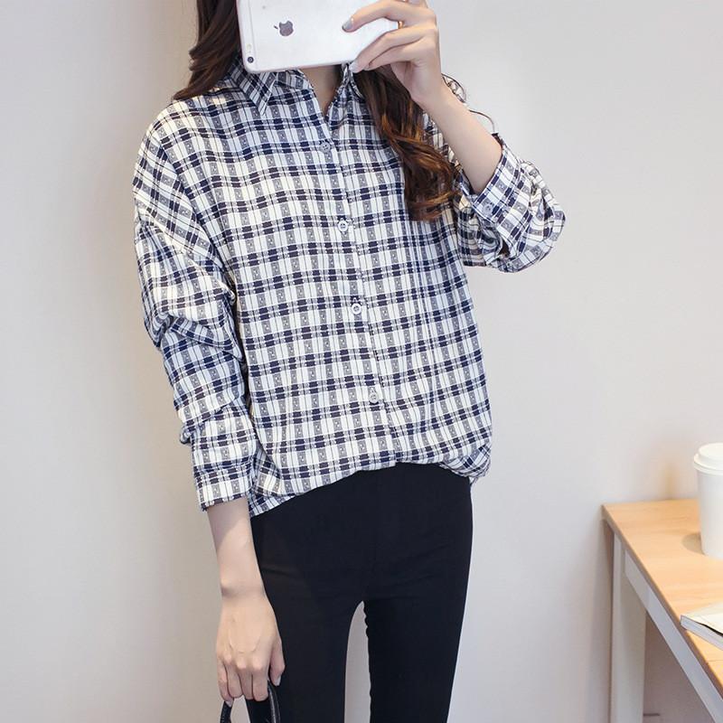 宽松格子衬衫女韩版