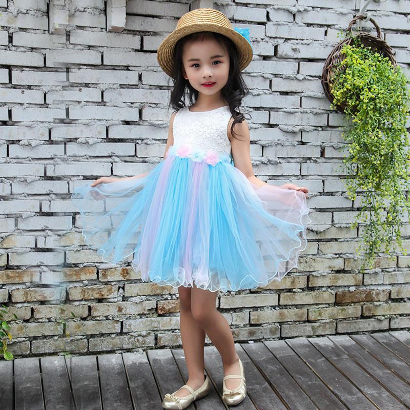 娇诗朵2017新款夏季童装女童可爱公主裙子花朵蕾丝彩虹纱裙背心裙110