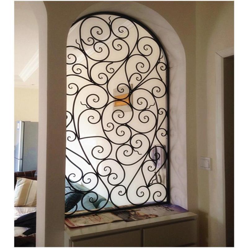 唐傲 创意欧式铁艺弧形隔断屏风精美拱形时尚门花窗客厅花形屏风玄关