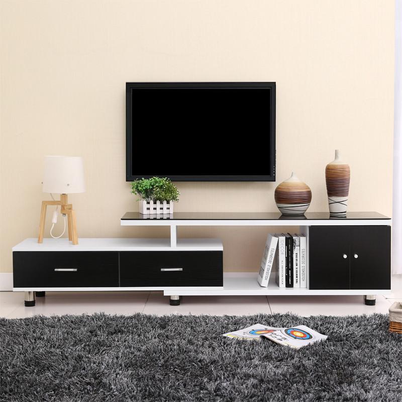 唐傲 新品 钢化玻璃电视柜简约伸缩木质电视机柜现代组合时尚环保