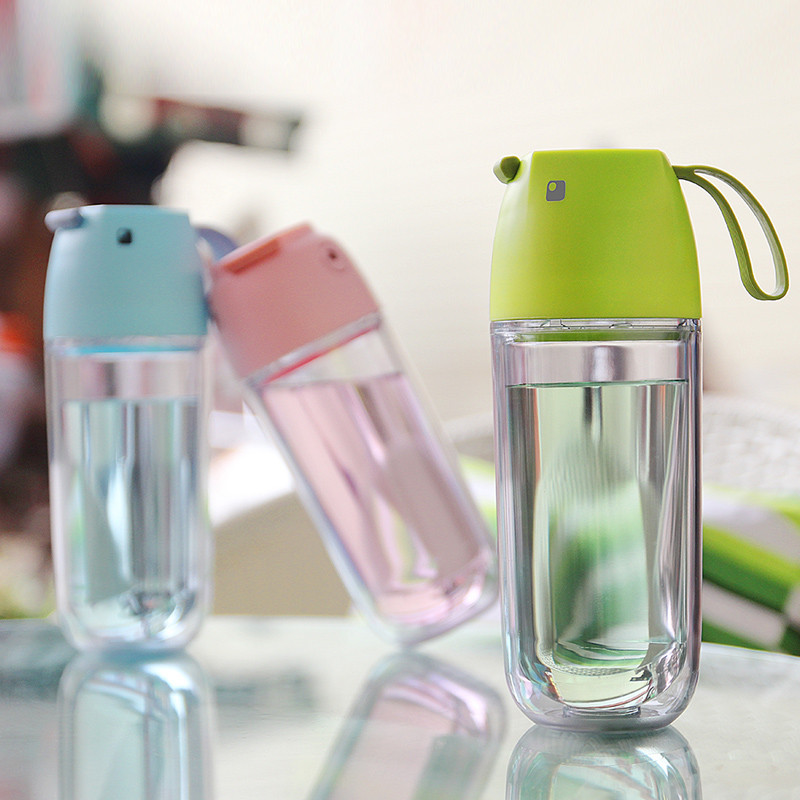 韩版可爱小鸟双层塑料随手杯创意便携运动水杯学生水壶儿童水瓶太空杯