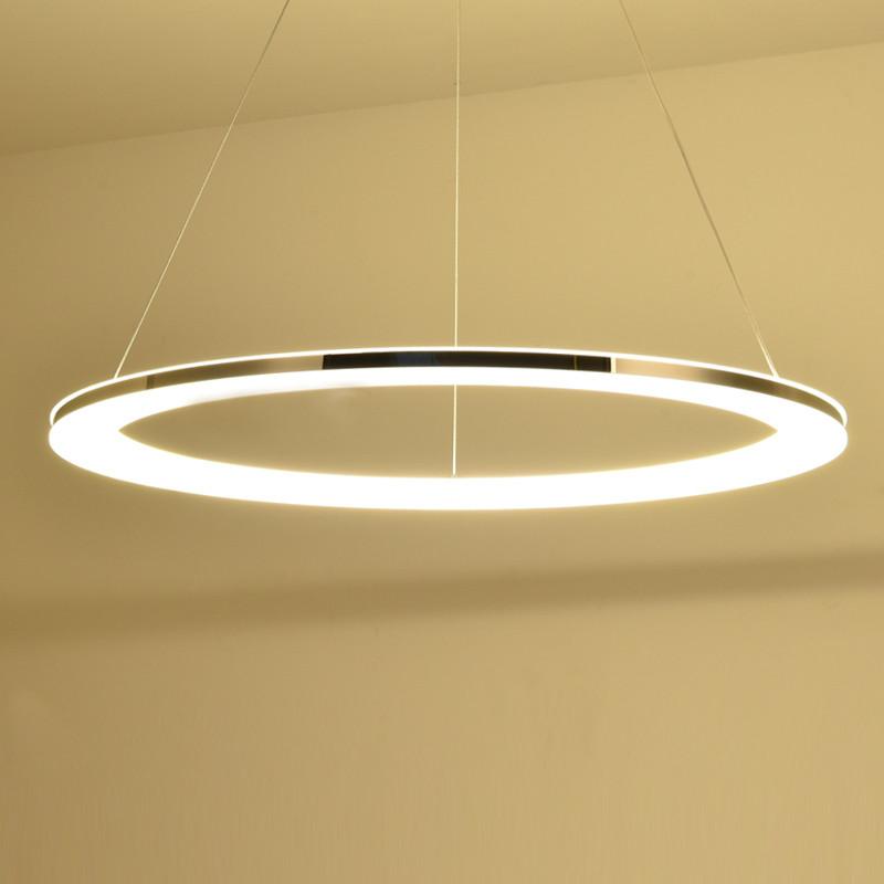 现代简约圆环形吊灯led亚克力卧室书房创意个性艺术客厅餐吊灯