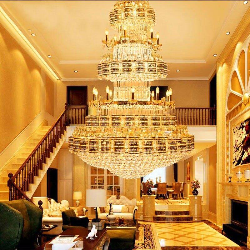 复式楼客厅水晶大吊灯大厅led灯工程酒店长楼中楼灯