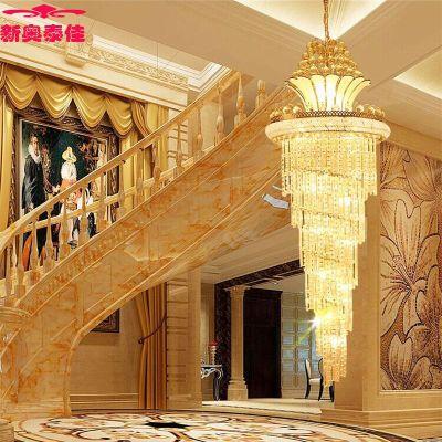 欧式大气金色复式楼水晶吊灯别墅客厅楼梯间灯具旋转楼梯灯长吊灯图片