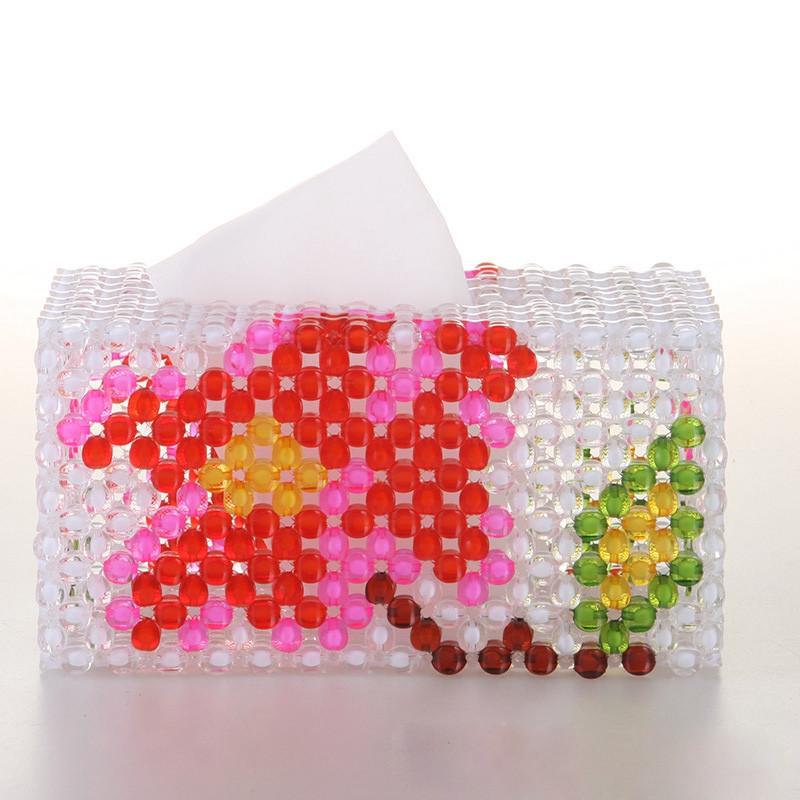 吟秀 创意工艺品 diy手工串珠纸巾盒 抽纸盒 收纳盒 礼品摆件