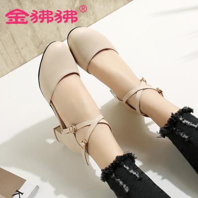 金狒狒粗跟凉鞋圆头双排扣带中空单鞋夏季女鞋两种穿法