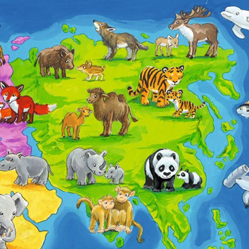 德国进口睿思儿童早教带动物的世界地图拼图30片底板r