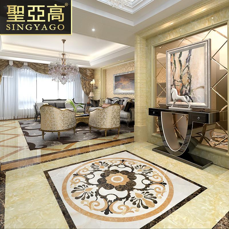 圣亚高瓷砖 客厅水刀地心拼花地砖 欧式玄关拼图可定制 水刀工艺