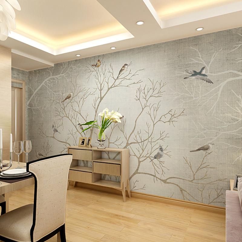 卡茵 定制个性花鸟大型壁画 客厅整张墙纸卧室无缝墙布 沙发墙影视墙
