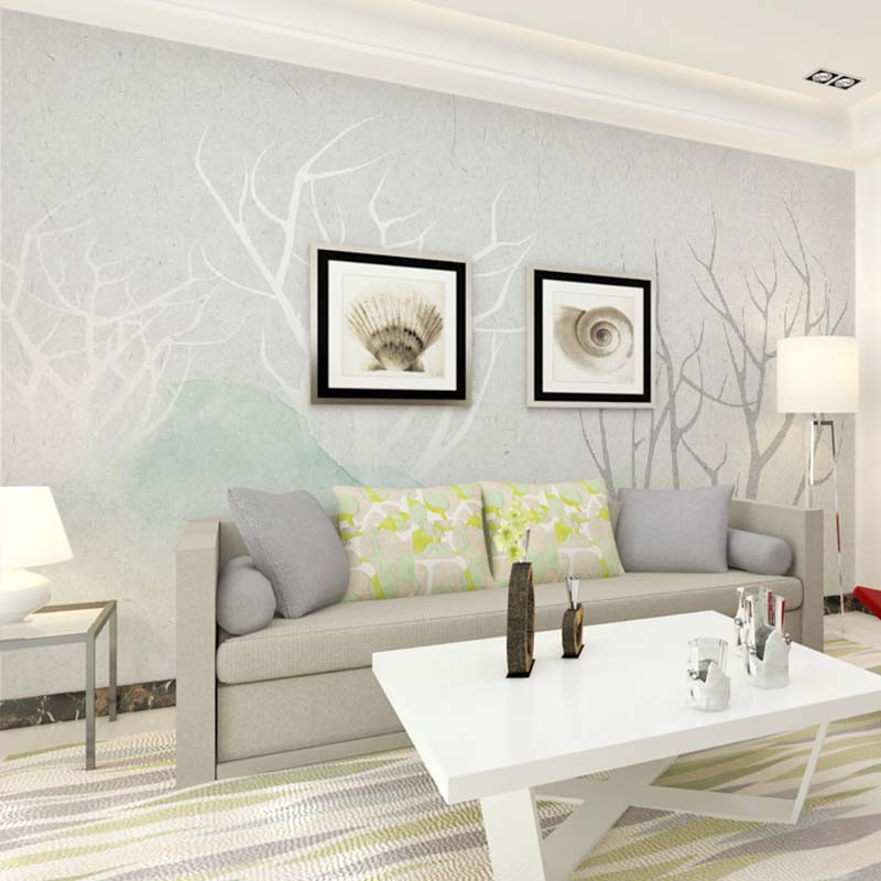 现代简约手绘电视背景墙壁纸 定制清新沙发墙壁画影视墙墙纸卧室墙布