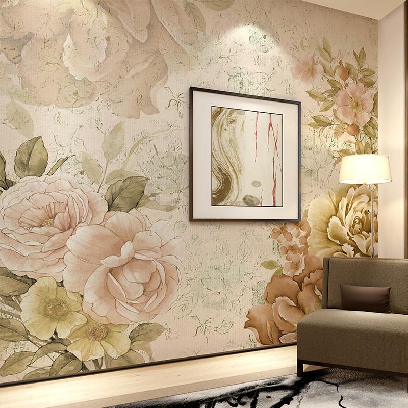 手绘电视背景墙壁纸 定制个性图案壁画 田园花卉墙布 客厅卧室沙发墙