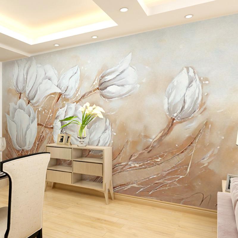 卡茵 手绘百合花卉油画背景墙壁画 定制个性客厅卧室壁纸 沙发墙影视