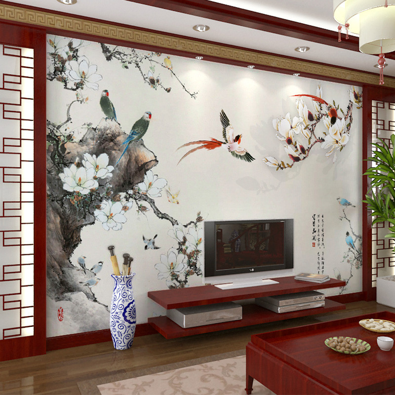 卡茵 新中式电视背景墙壁纸 客厅影视墙大型壁画 卧室