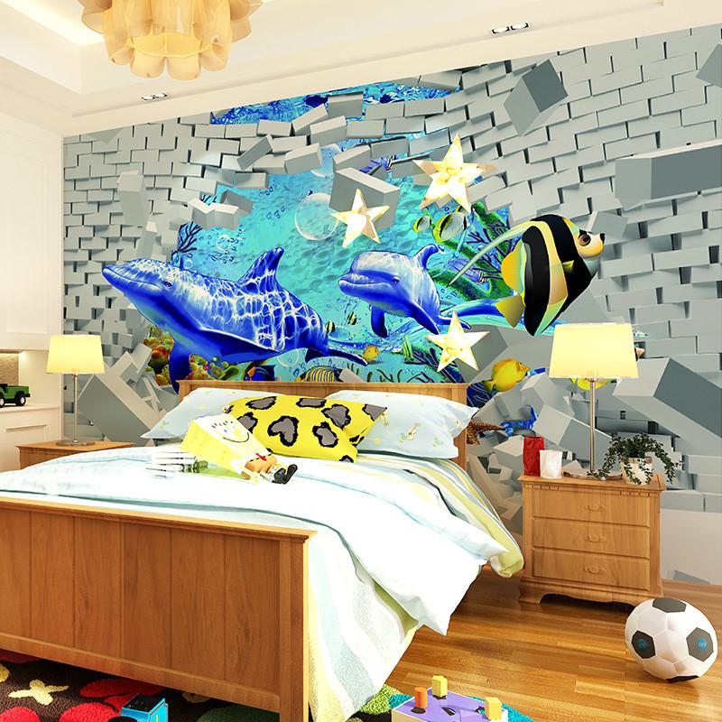 卡茵3d立体电视背景墙装饰画 海底世界儿童房壁画 无缝无纺布创意墙纸