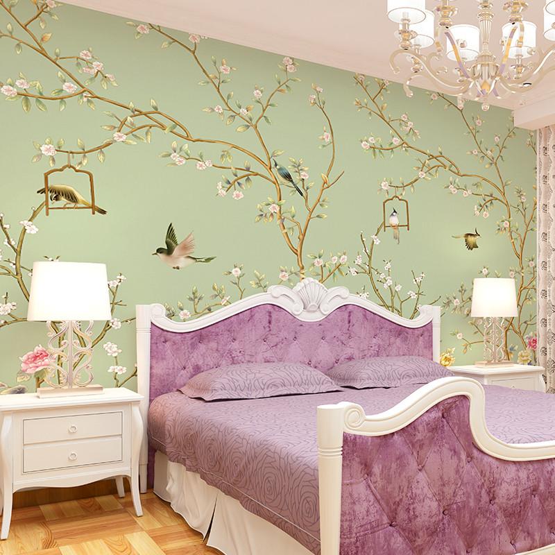 中式花卉无缝大型壁画 客厅电视背景墙墙纸 卧室定制壁纸 影视墙墙布4