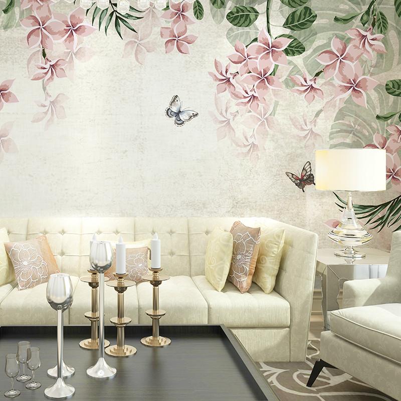 卡茵 复古欧式手绘花卉背景墙壁画 定制个性创意客厅影视墙卧室沙发墙