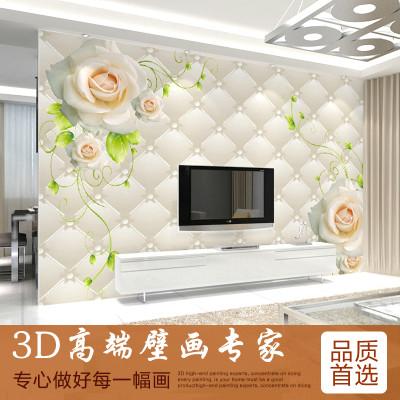 卧室温馨墙布欧式壁画玫瑰无纺布软包背景墙纸 无缝真丝布/平米