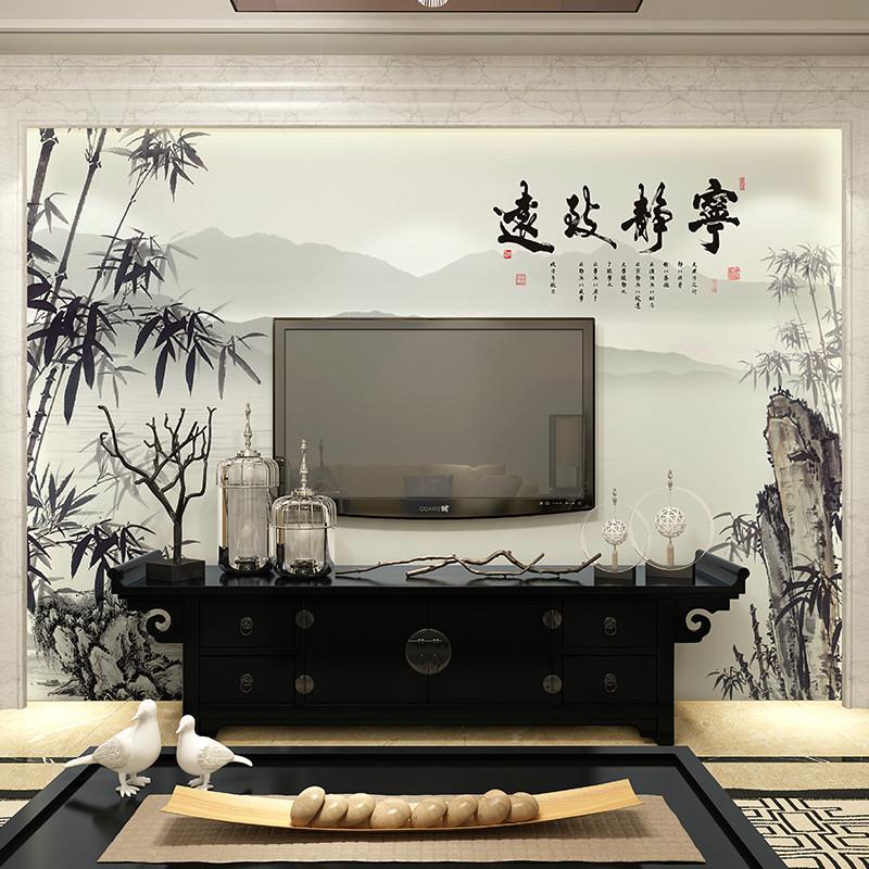 卡茵中式现代客厅电视背景墙壁画会议室壁纸书房复古墙纸 山水画墙布
