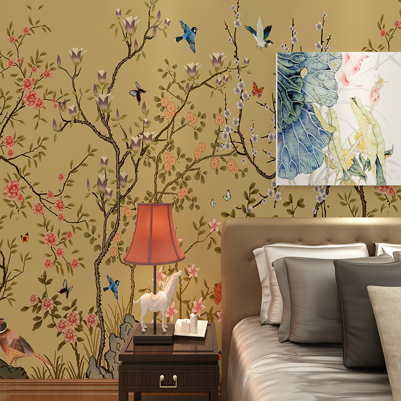卡茵手绘高清简约花卉电视背景墙壁画中式无缝壁画工笔花鸟办公室墙纸