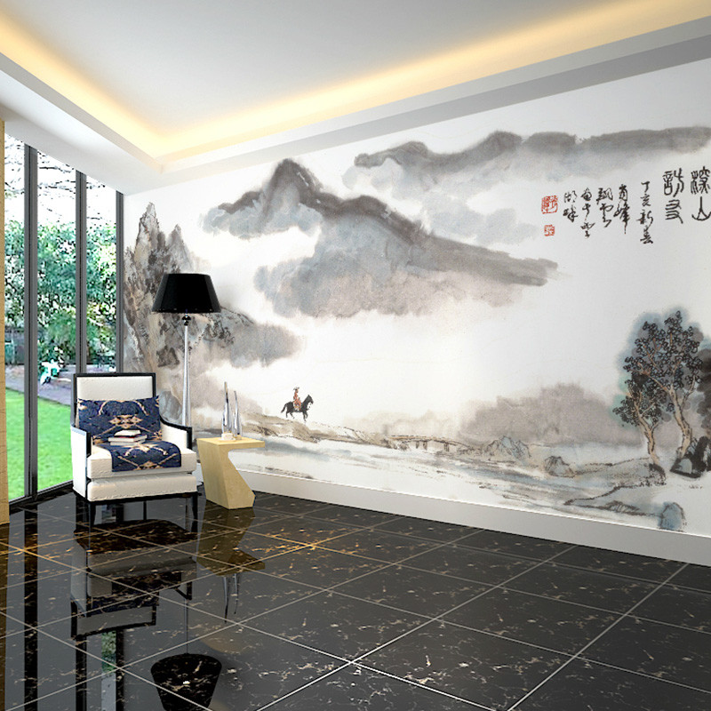 中国风电视背景墙壁画手绘水墨书房壁纸影视墙墙纸办公室定制墙布