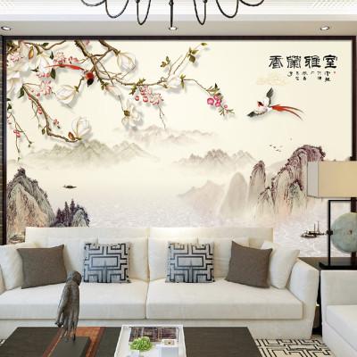 室雅蘭香書房壁畫中式山水電視背景墻壁紙辦公室墻紙影視墻墻布 本