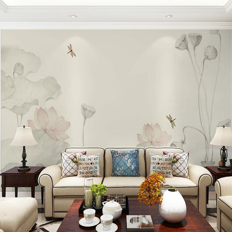 淡雅禅意书房壁画荷花意境电视背景墙壁纸工笔画定制墙纸客厅墙布