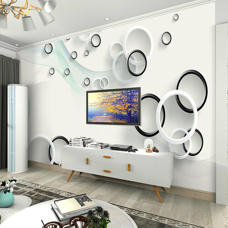 3d立体圆圈简约时尚电视背景墙壁纸现代客厅壁画无纺布卧室墙纸