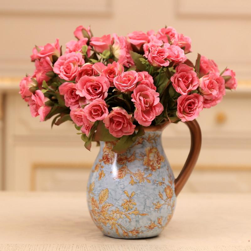 贝亚特玛丽亚玫瑰家居装饰品 欧式田园整体花艺花瓶摆件 -带3束玫红
