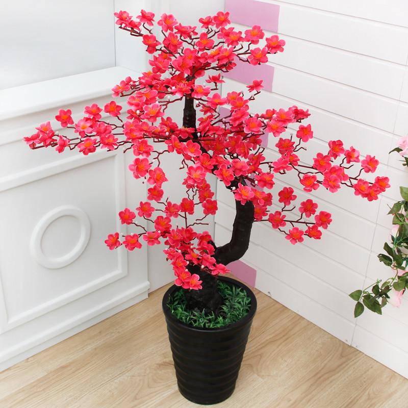 桃花树 室内装饰落地仿真植物盆栽绿植 客厅大型发财树 仿真梅花树