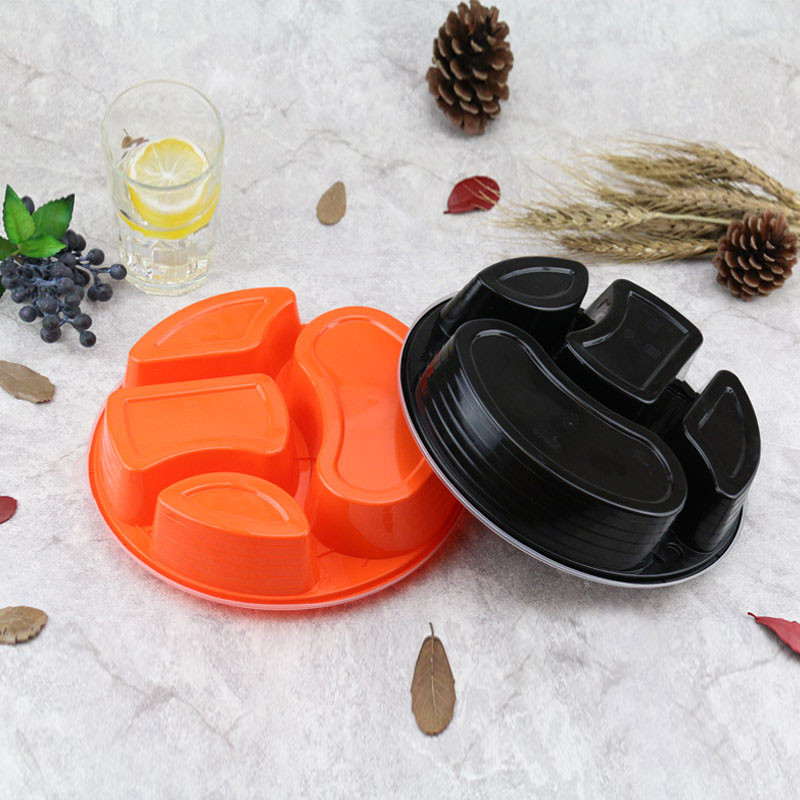 一次性快餐盒 饭盒 塑料圆形三格四格打包盒 外卖快餐