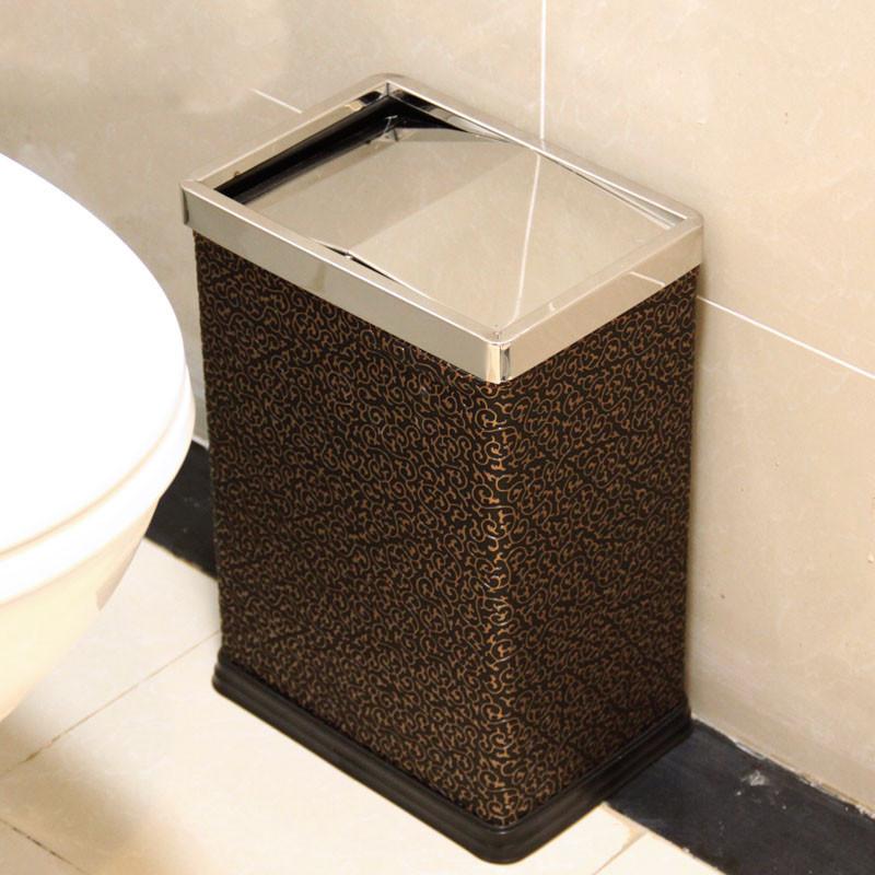 垃圾桶 卫生间纸篓 方形摇盖式垃圾筒 有盖清洁桶 不锈钢翻盖垃圾筒
