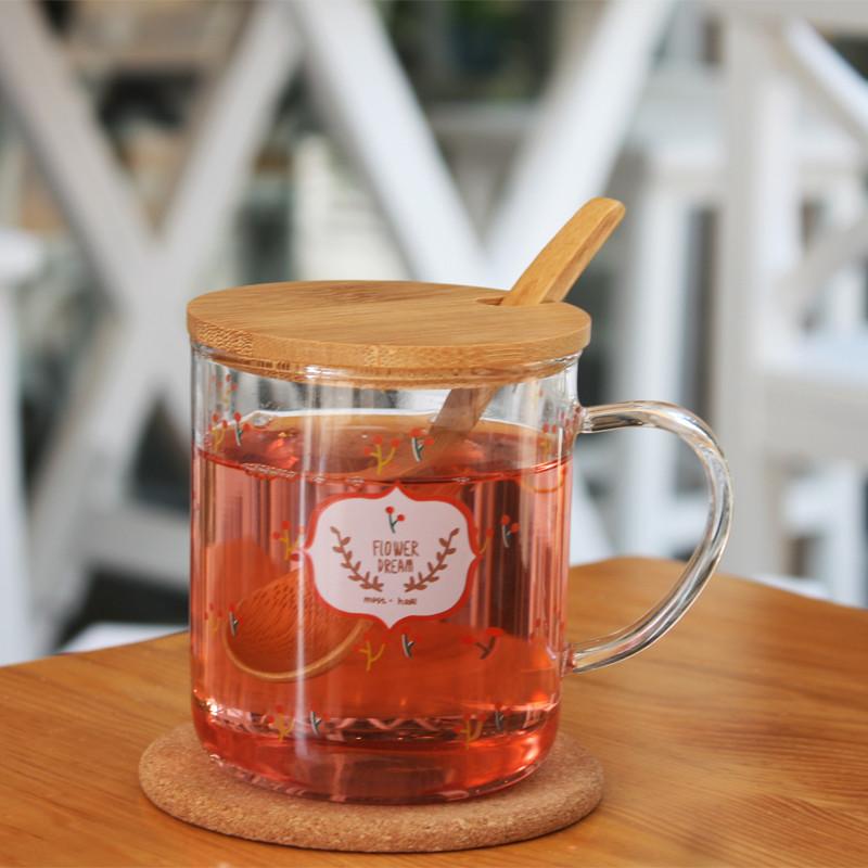 杯子 印花玻璃杯 带把水杯 马克杯 带盖茶杯 办公杯
