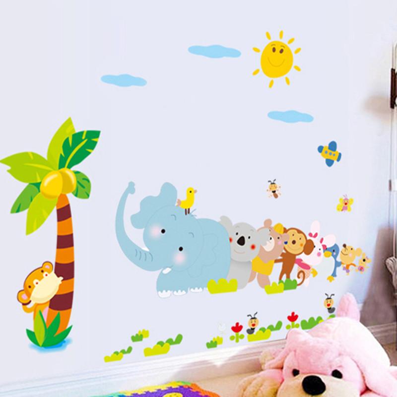 儿童宝宝房幼儿园装饰贴 装饰墙贴纸 可移除贴纸 小动物拔河墙贴-小号