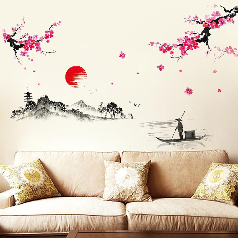 墙贴 贴纸 卧室客厅书房电视墙壁大面积墙贴 中式山水墙贴画 风景画