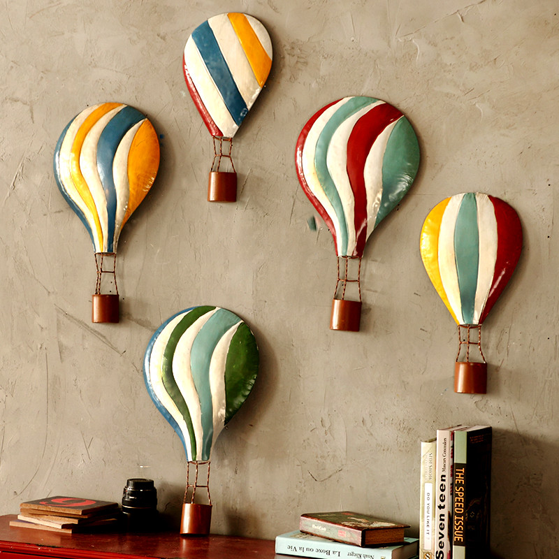 酒吧装饰品 创意墙面壁饰 热气球装饰 客厅立体铁艺挂件-铁艺热气球