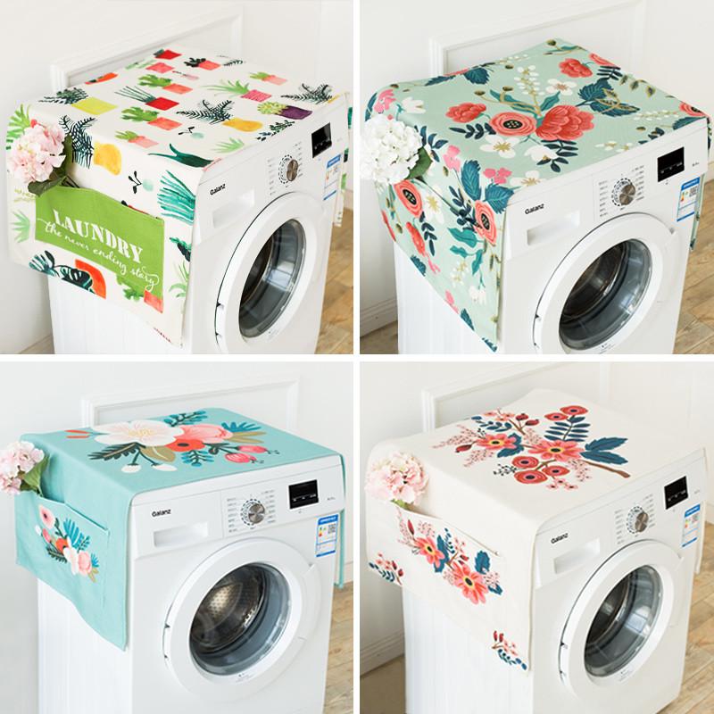 田园手绘系列冰箱盖巾遮尘罩棉麻滚筒洗衣机床头柜子单开门盖布-life图片