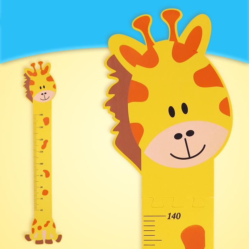 墙贴身高尺寸测量贴儿童房卡通立体身高尺可爱墙贴自粘墙纸-长颈鹿