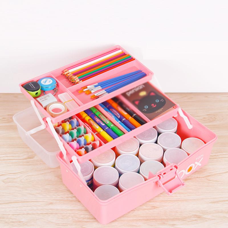 儿童工具箱大号手提式v儿童箱学生多功美术箱绘画三层美甲工具箱一六八高中部合肥图片