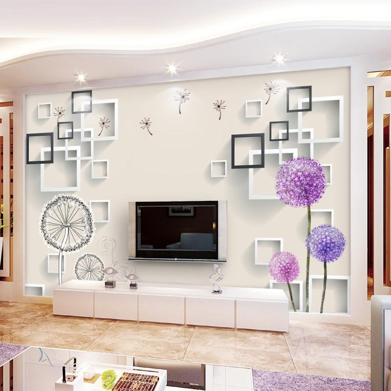 电视背景墙3d立体墙纸现代简约客厅电视墙壁纸花卉墙布墙纸墙贴-c墙纸