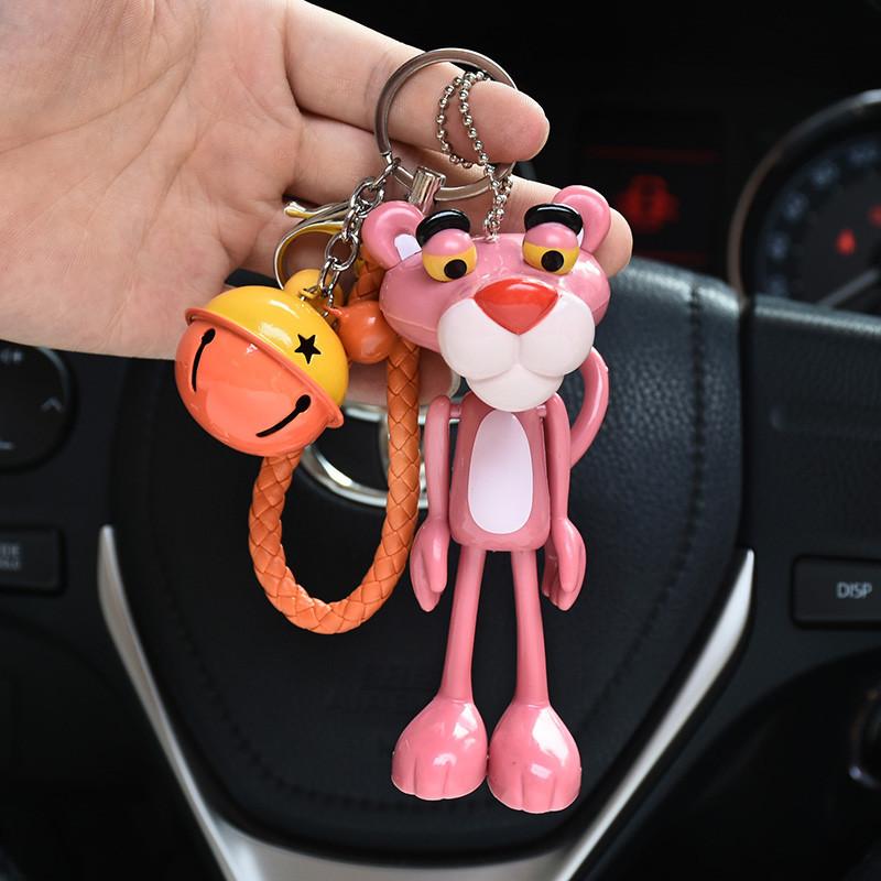 钥匙扣挂件可爱粉红豹男女创意汽车可爱情侣绳铃铛钥匙链钥匙挂件-粉