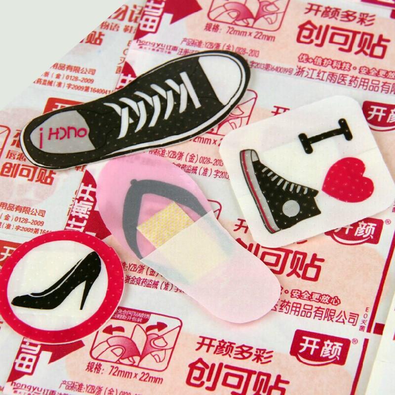 开颜 创可贴 可爱卡通创可贴 鞋型创口贴4片