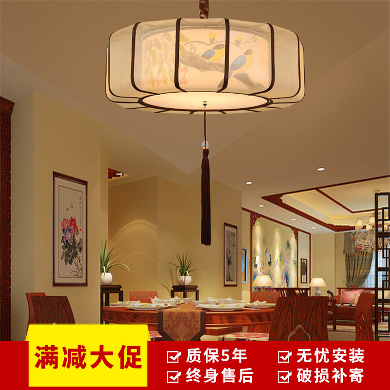 澳松现代新中式吊灯复古手绘布艺卧室灯书房仿古茶楼包厢火锅店走廊过