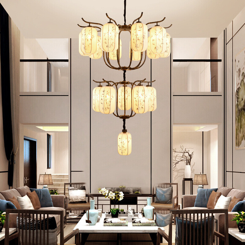 复式楼客厅吊灯新中式 图片合集图片