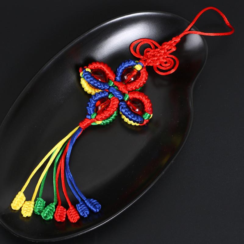 安乐因 西藏五彩绳编织金刚结十字灯笼金刚结吉祥珠结转经筒汽车挂件